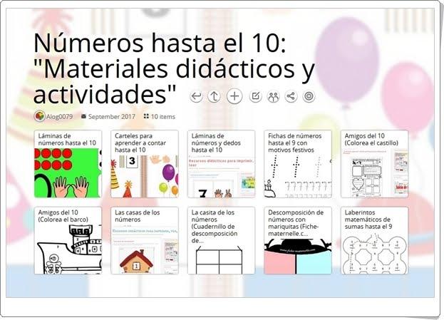 """""""10 Materiales didácticos y actividades para el aprendizaje de """"LOS NÚMEROS HASTA EL 10"""""""