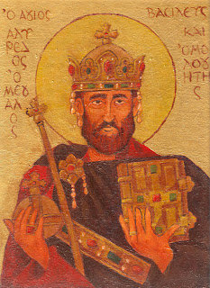 An icon showing Alfred the Great in strong colours carrying a book, orb and sceptre.