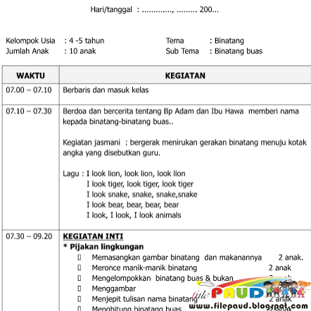 Download Contoh Rkh Sentra Persiapan Paud Tema Binatang