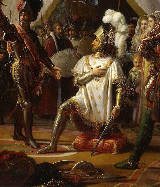 O rei da França Francisco I é armado cavaleiro por Bayard. Louis Ducis (1775 - 1847) , Museu do castelo de Blois.
