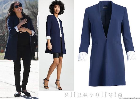 Meghan Markle wore Alice + Olivia Simpson Roll Cuff Collarless Blazer