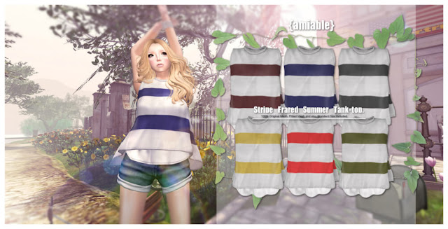 {amiable}Stripe Flared Summer Tank-top