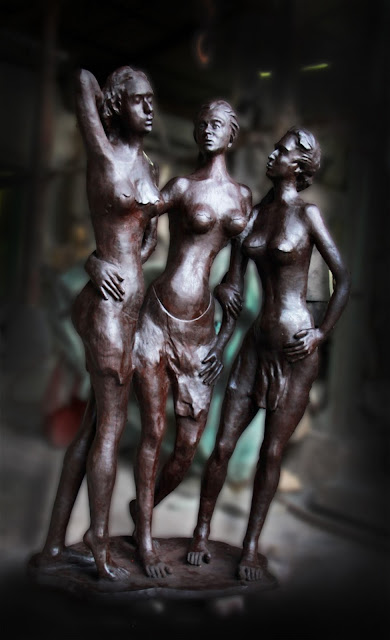 Life size bronze sculpture