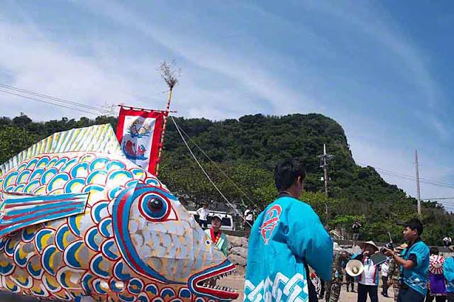 fish, shrine, parade, festival, Sanguacha, Henza, Okinawa, Japan