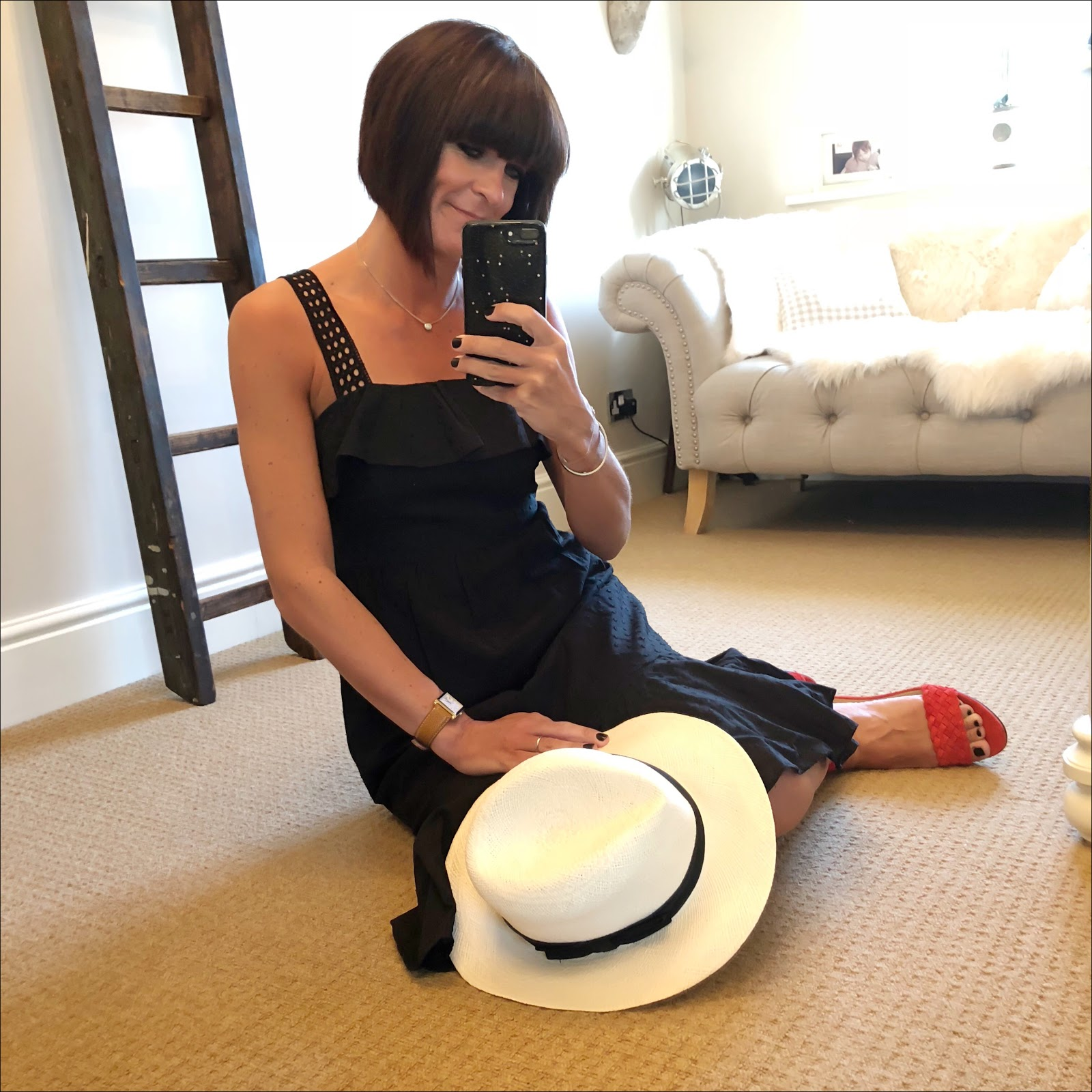 My midlife fashion, marks and spencer hand woven panama straw hat, j crew dobby sundress, j crew suede woven wedge heel sandals