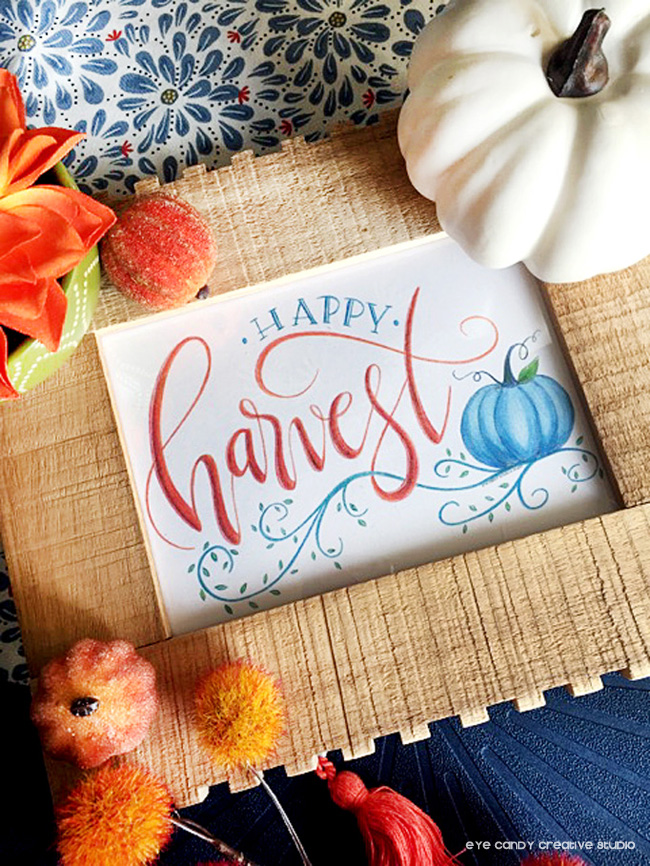 happy harvest art print, white pumpkin, fall decorating, fall decor, lettering