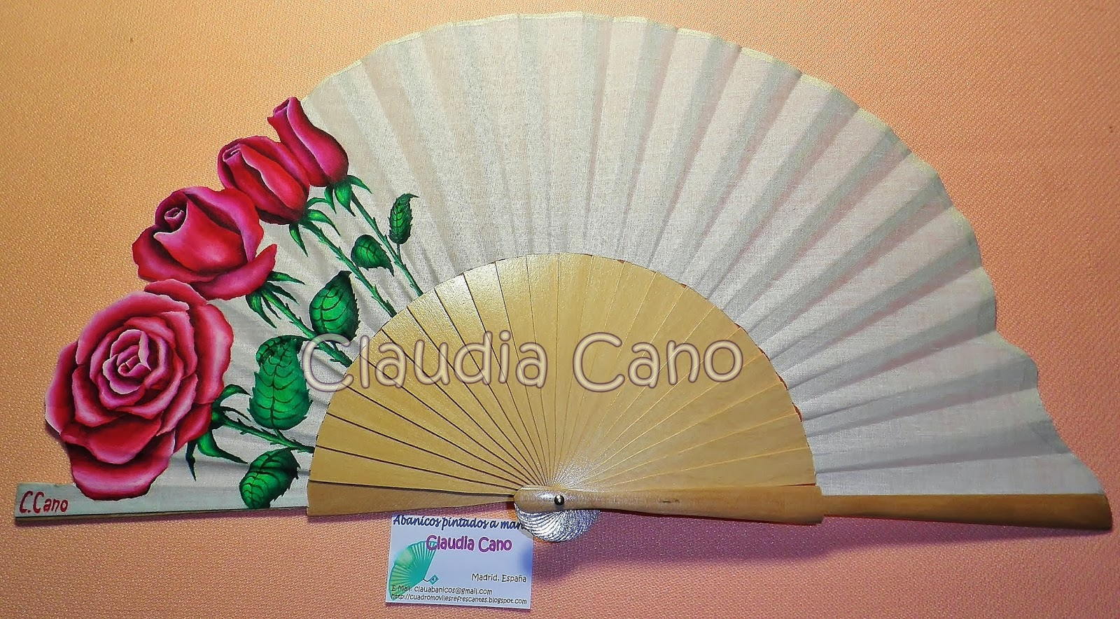 Abanicos pintados a mano por claudia cano borde de rosas - Abanicos pintados a mano originales ...