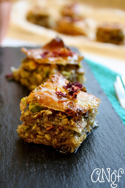 Homemade gluten free baklava filled with pistachios and rose petals | Anyonita-nibbles.co.uk