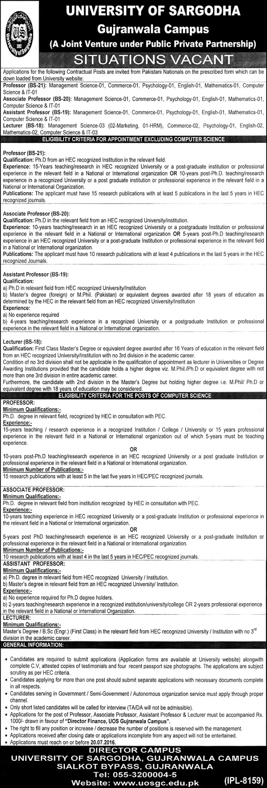 Jobs in University of Sargodha for Teaching Faculty