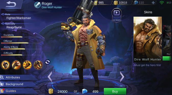 Panduan Skill dan Guide pakai Roger di Mobile Legends
