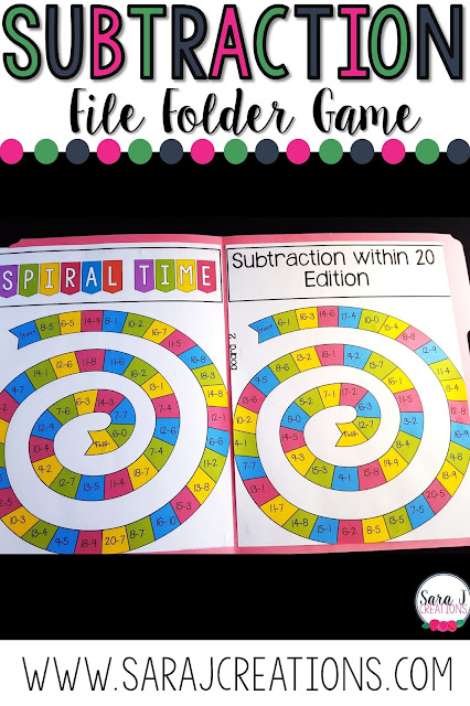 Subtraction within 20 file folder games