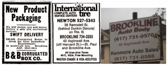 Ads from businesses at 40 Aspinwall Avenue