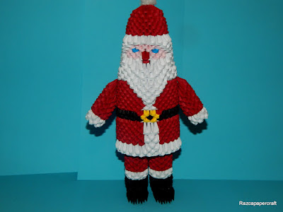 3D Origami Santa Claus  made from paper