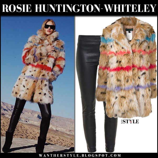 Rosie Huntington-Whiteley in brown fur striped coat jocelyn the satisfaction and leather pants paige winter fashion december 20