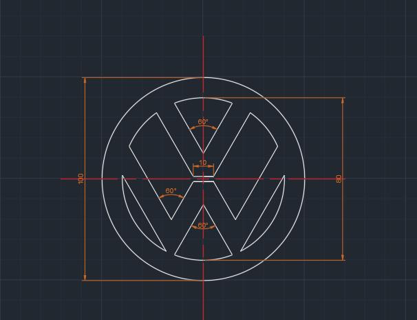 Volkswagen Logosu Teknik Resim Autocad