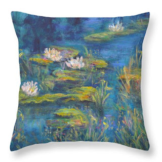 monet style throw pillow of wate rlilies blue and green
