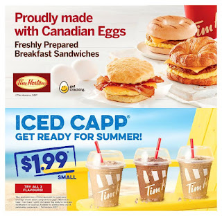 Tim Hortons Menu April 25 – July 11, 2017