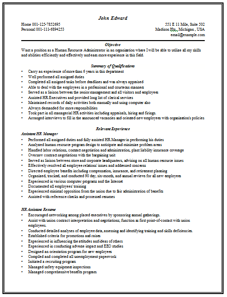 Resume for hr manager post