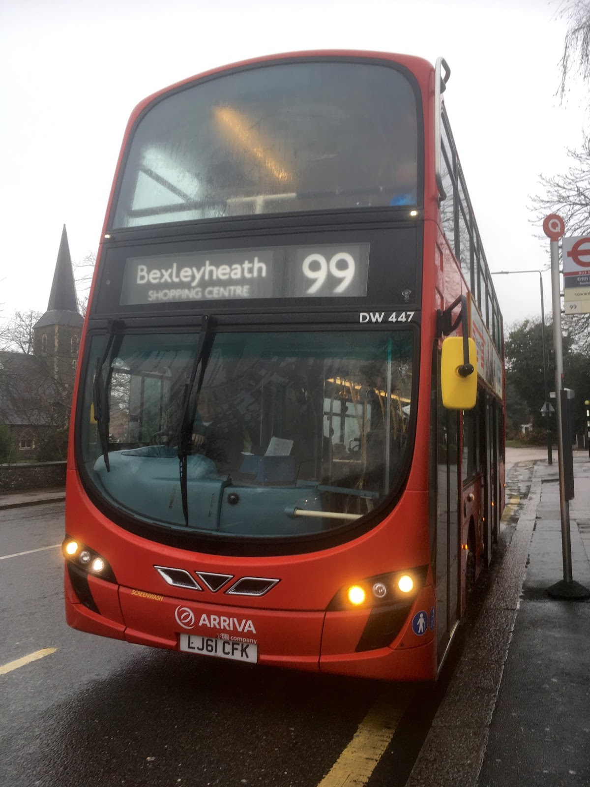 Arriva London DW447 Is Seen On The 99 To Bexleyheath Shopping Centre
