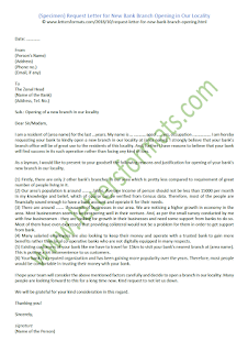 request letter for new bank branch opening in our locality