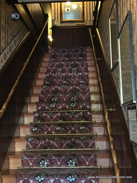 stairway to guest rooms at National Hotel in Jamestown, California