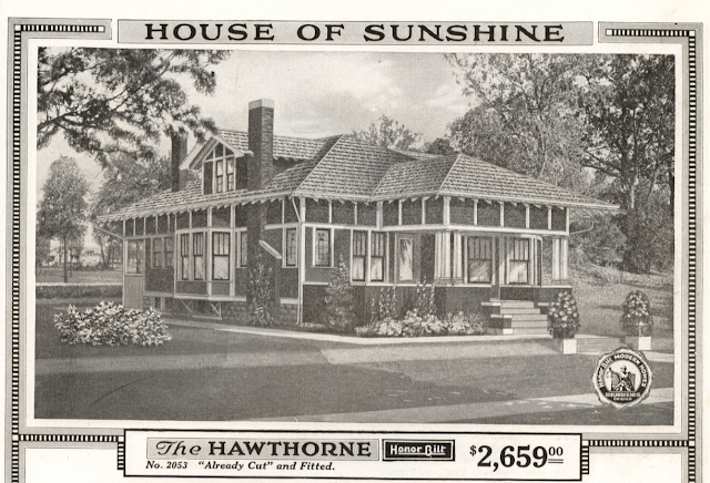 catalog image of Sears Hawthorne in the 1918 Sears Modern Homes catalog, first called the No. 201