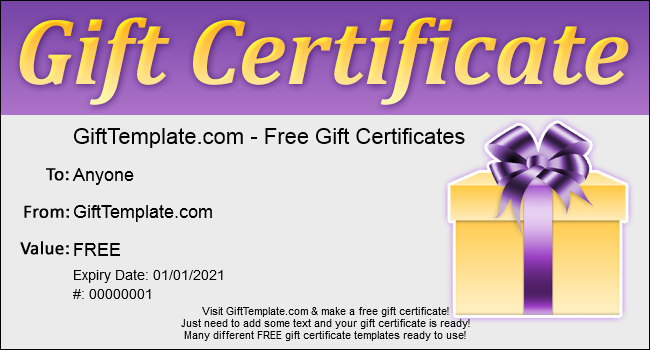 Free Christmas Gift Certificate Template  Free Holiday Gift Certificate Templates