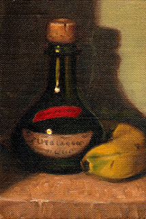 Oil painting of a green onion-shaped bottle with a cork, beside a banana.