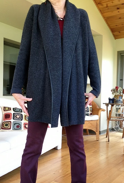 grey Vince coat sweater, burgundy NYDJ jeans