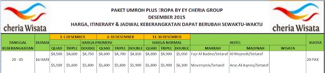 Pendaftaran Paket Umroh Plus Eropa BY EY menjadi Paket Umroh Akhir Tahun 2015 hubungi situs website www.cheria-travel.com