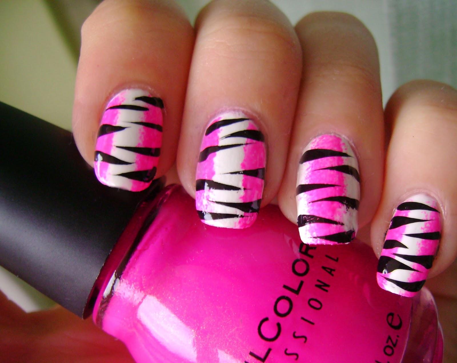 acrylic nail art designs: Go Pink Wednesday -Pink zebra nails