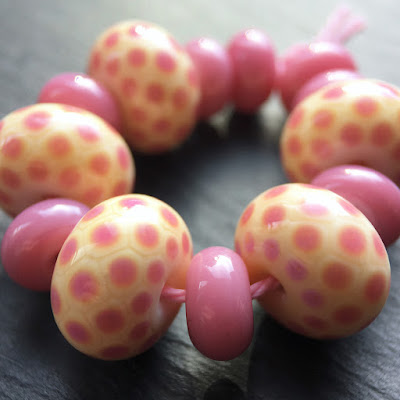 Lampwork glass beads by Laura Sparling, made with CiM 'Painted Hills'