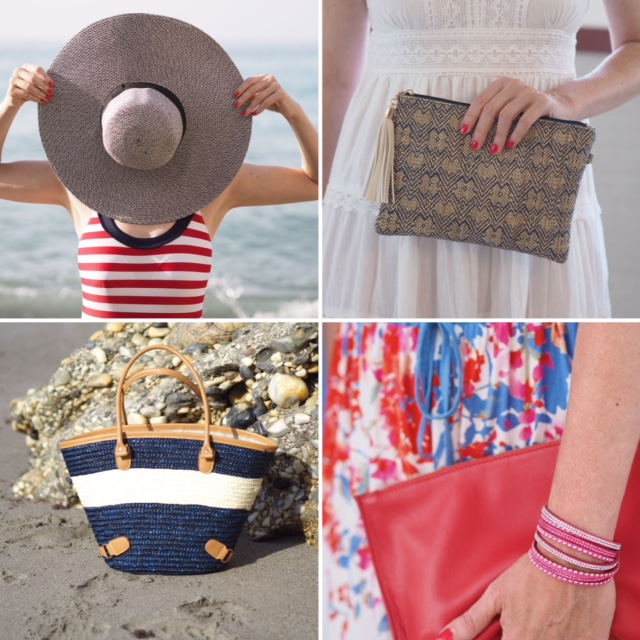 Raffia sunhat, raffia tote beach bag, red leather clutch bag, raffia clutch bag with tassel