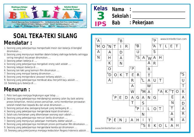 Soal Teka-Teki Silang (TTS) IPS Kelas 3 SD Bab Mengenal Pekerjaan dan Kunci Jawaban