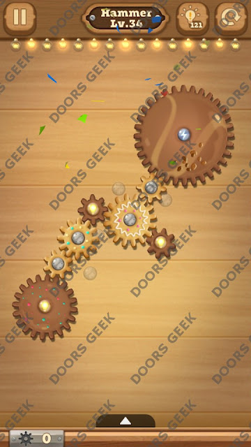 Fix it: Gear Puzzle [Hammer] Level 34 Solution, Cheats, Walkthrough for Android, iPhone, iPad and iPod