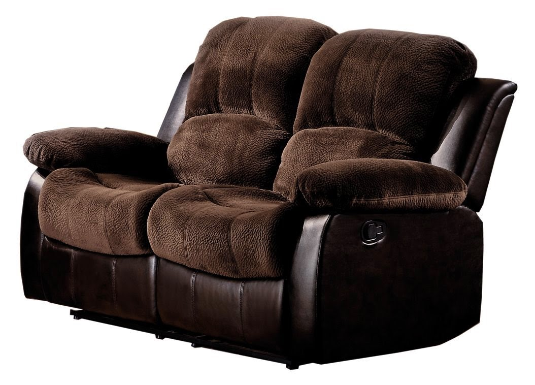 Brown Plush Microfiber Modern Reclining Sofa Furniture