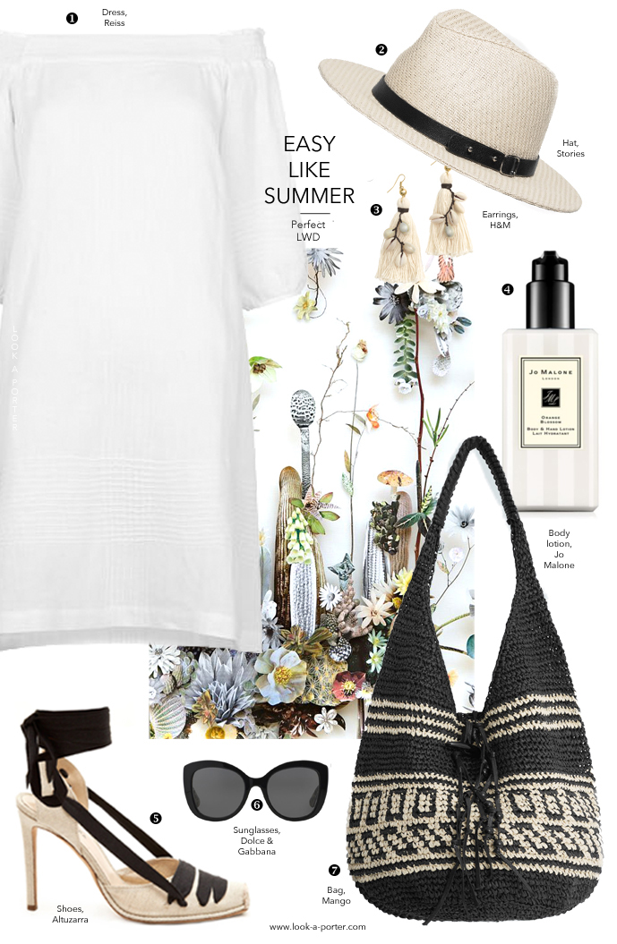 Finding and styling a perfect little white linen dress for spring and summer via www.look-a-porter.com