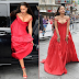 Rihanna's cleavage spills out of her eye-catching red gown at the London premiere of Valerian And The City Of A Thousand Planets