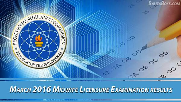 PRC Midwife April 2016 Board Exam Results