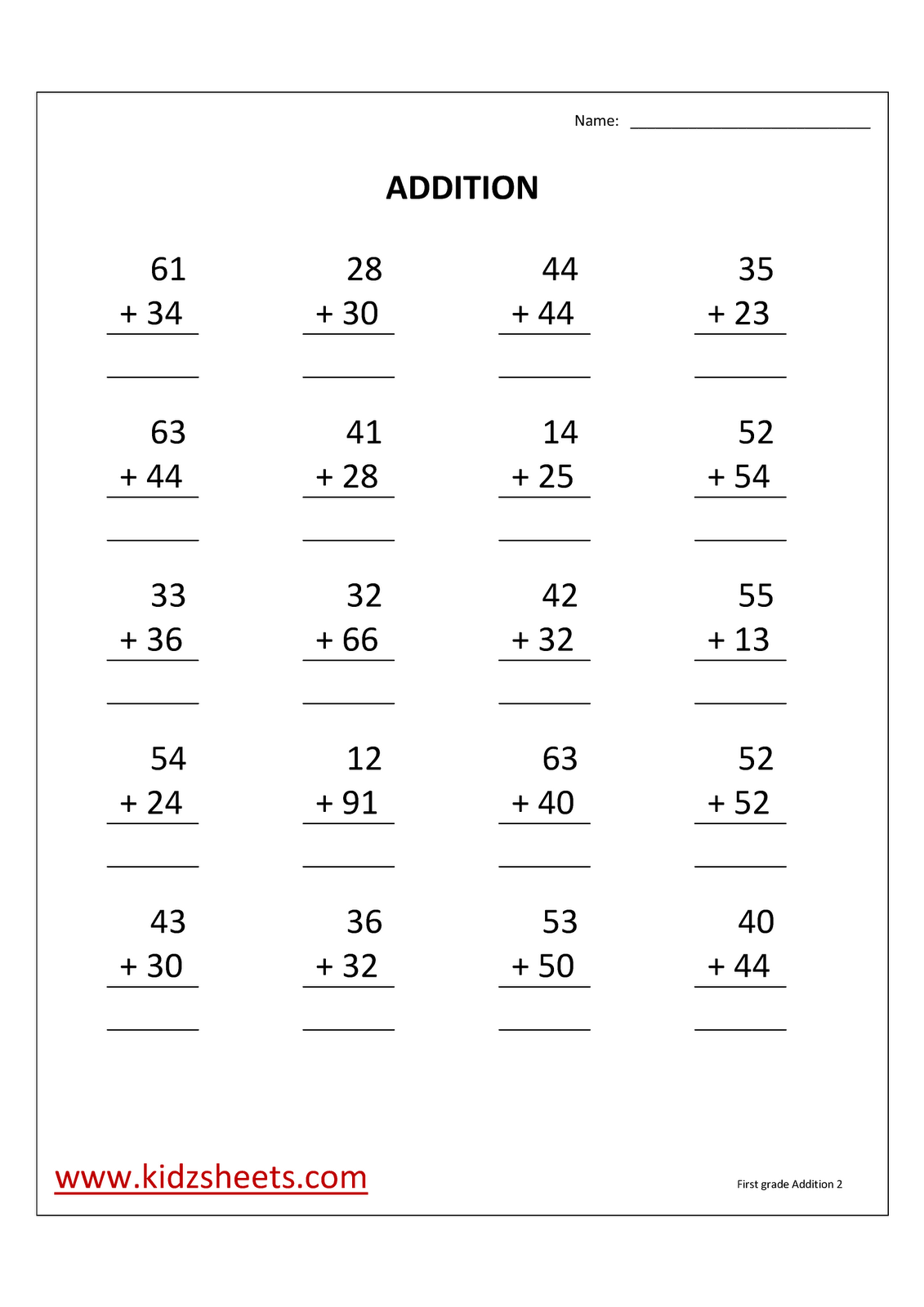 Kidz Worksheets First Grade Addition Worksheet2