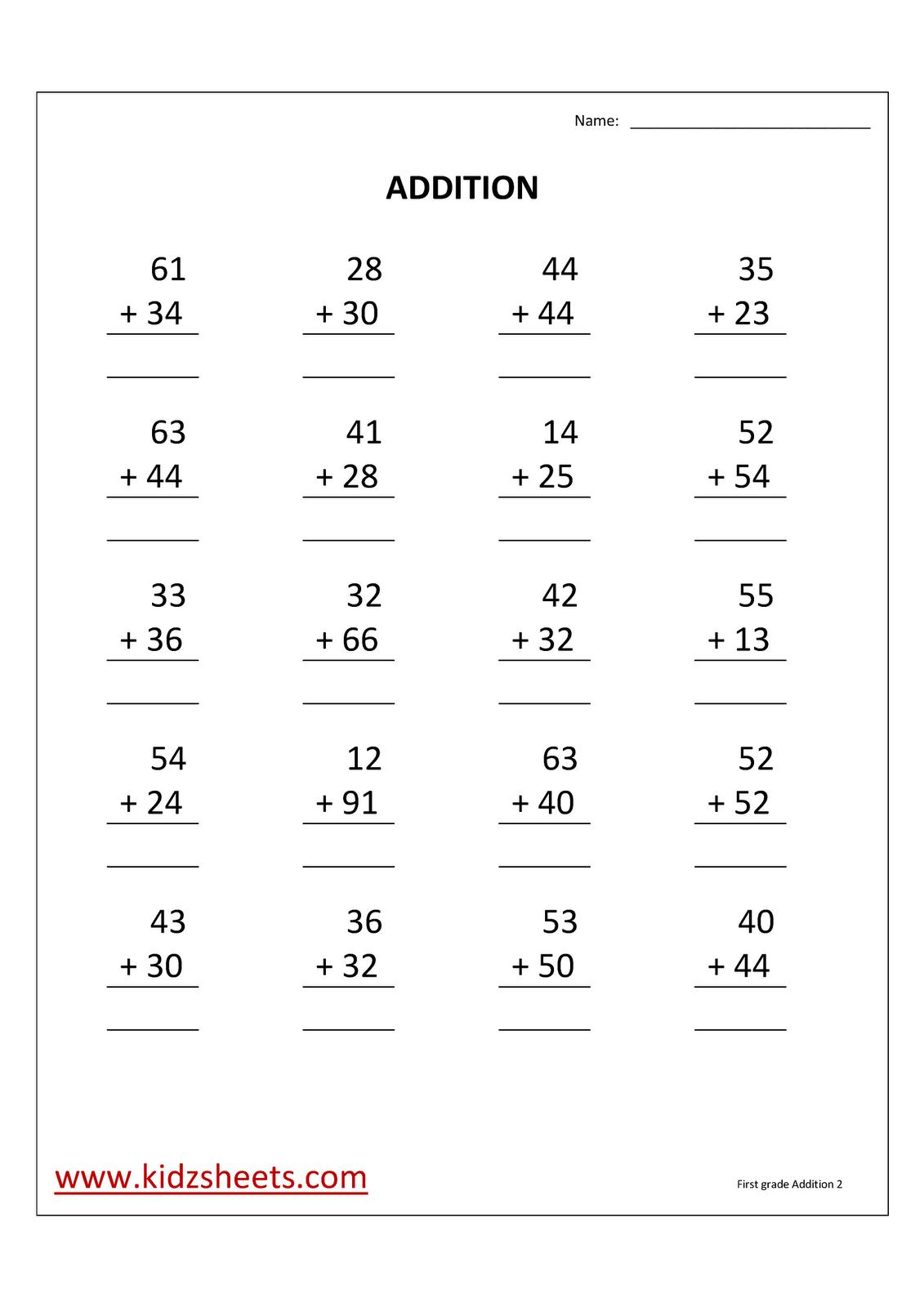 Kidz Worksheets: First Grade Addition Worksheet2
