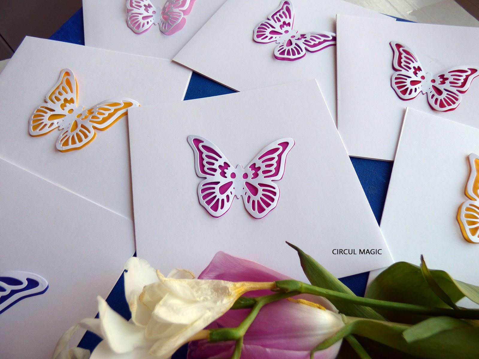 Felicitare Handmade Fluturas Colorat - Circul Magic