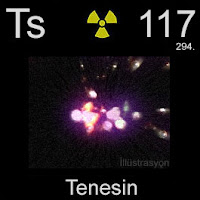 Tenesin (Tenessin) elementi üzerinde tenesinin simgesi, atom numarası ve atom ağırlığı.
