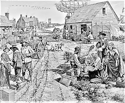 The arrival of indentured servants in the Virginia Colony