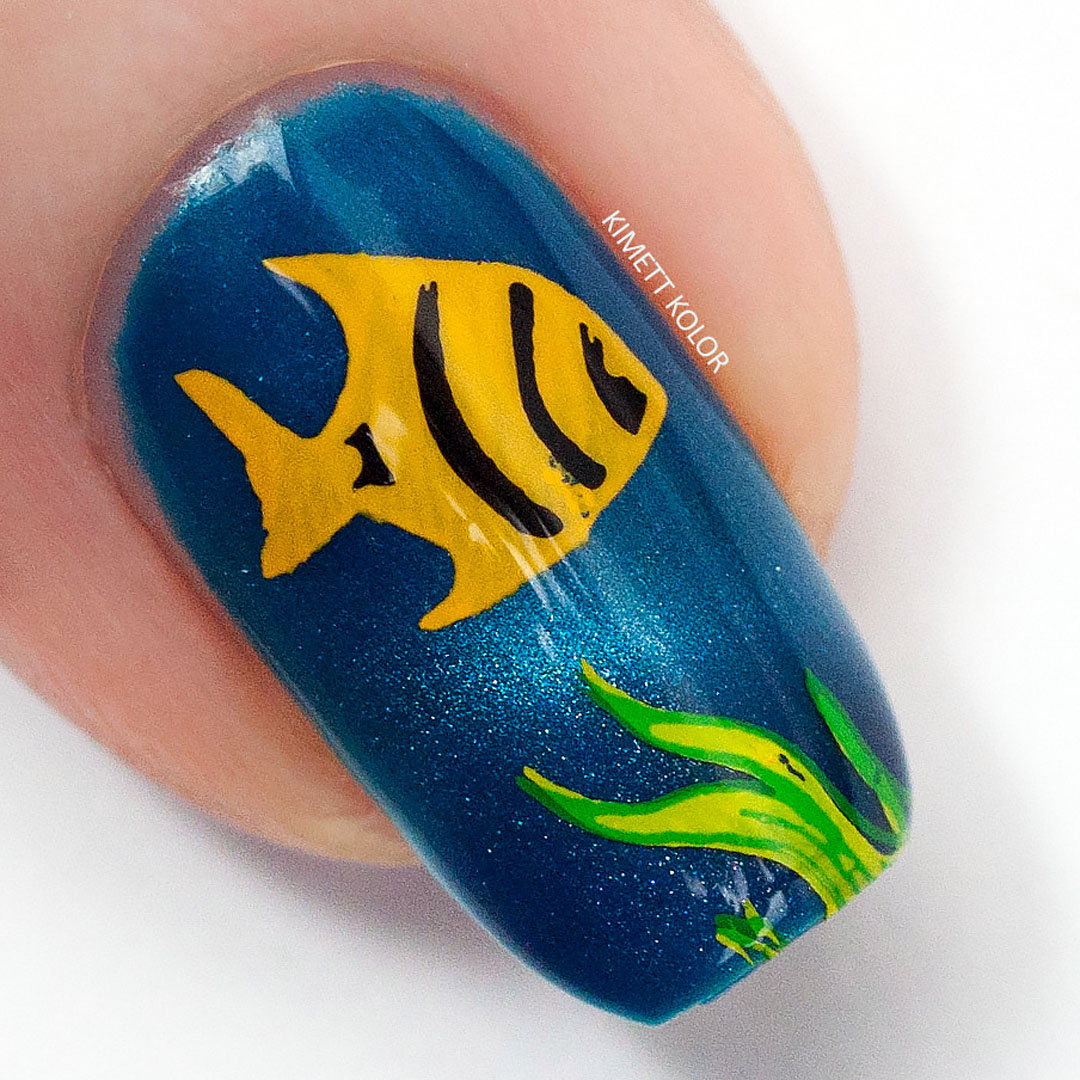 Sea Life Stamping Nail Art with Clear Jelly Stamper