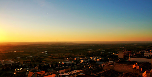 panorama, tramonto, sole, cielo, case, Minervino