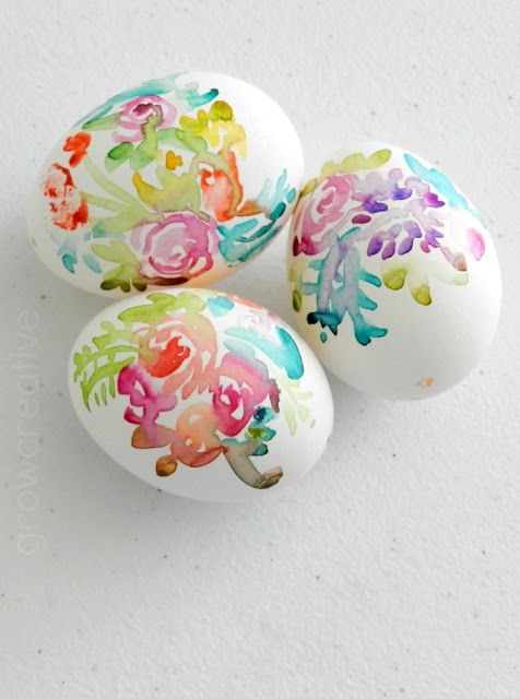 Watercolor Floral Easter Eggs:: Grow Creative Blog
