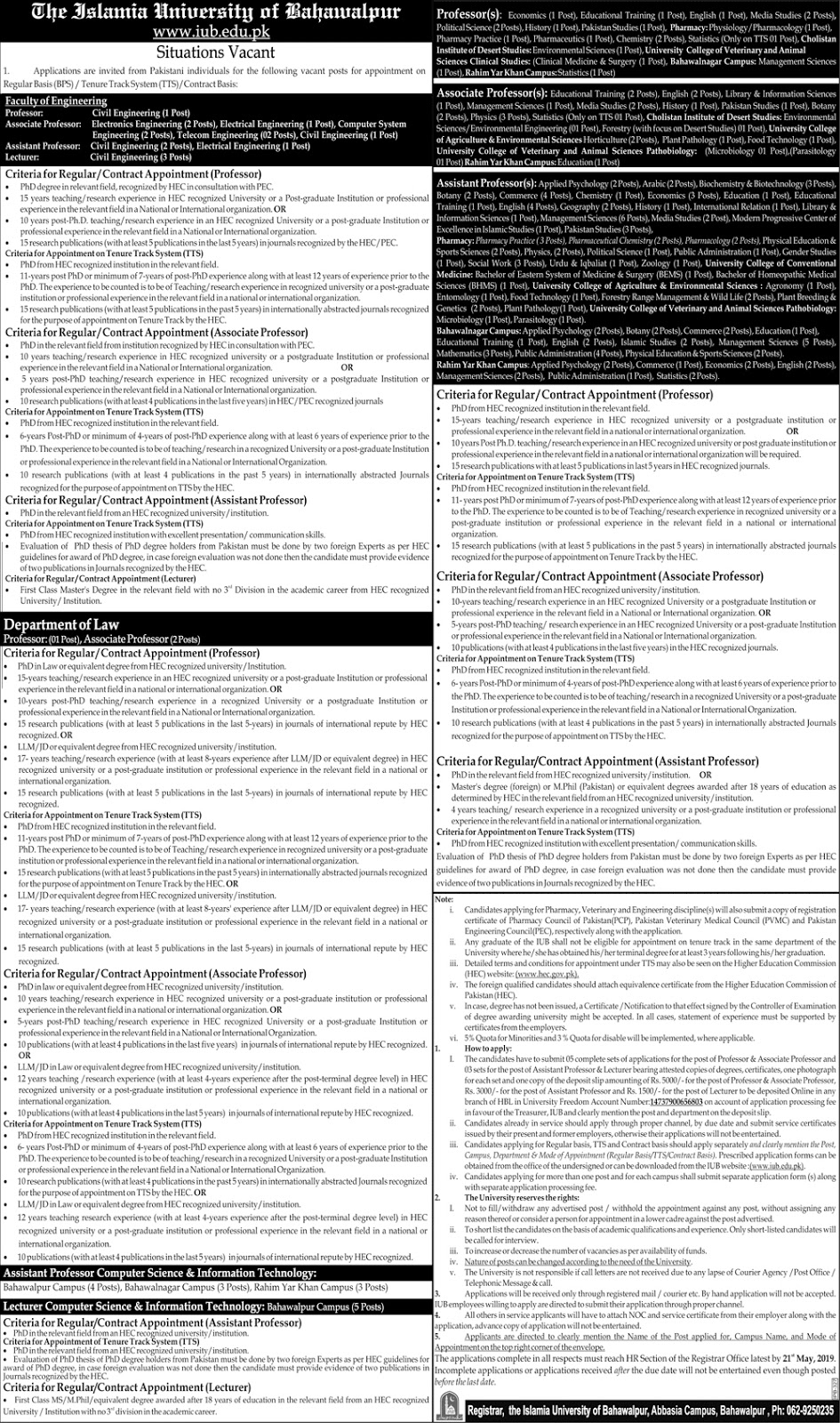 The Islamia University of Bahawalpur Apr 2019 Jobs