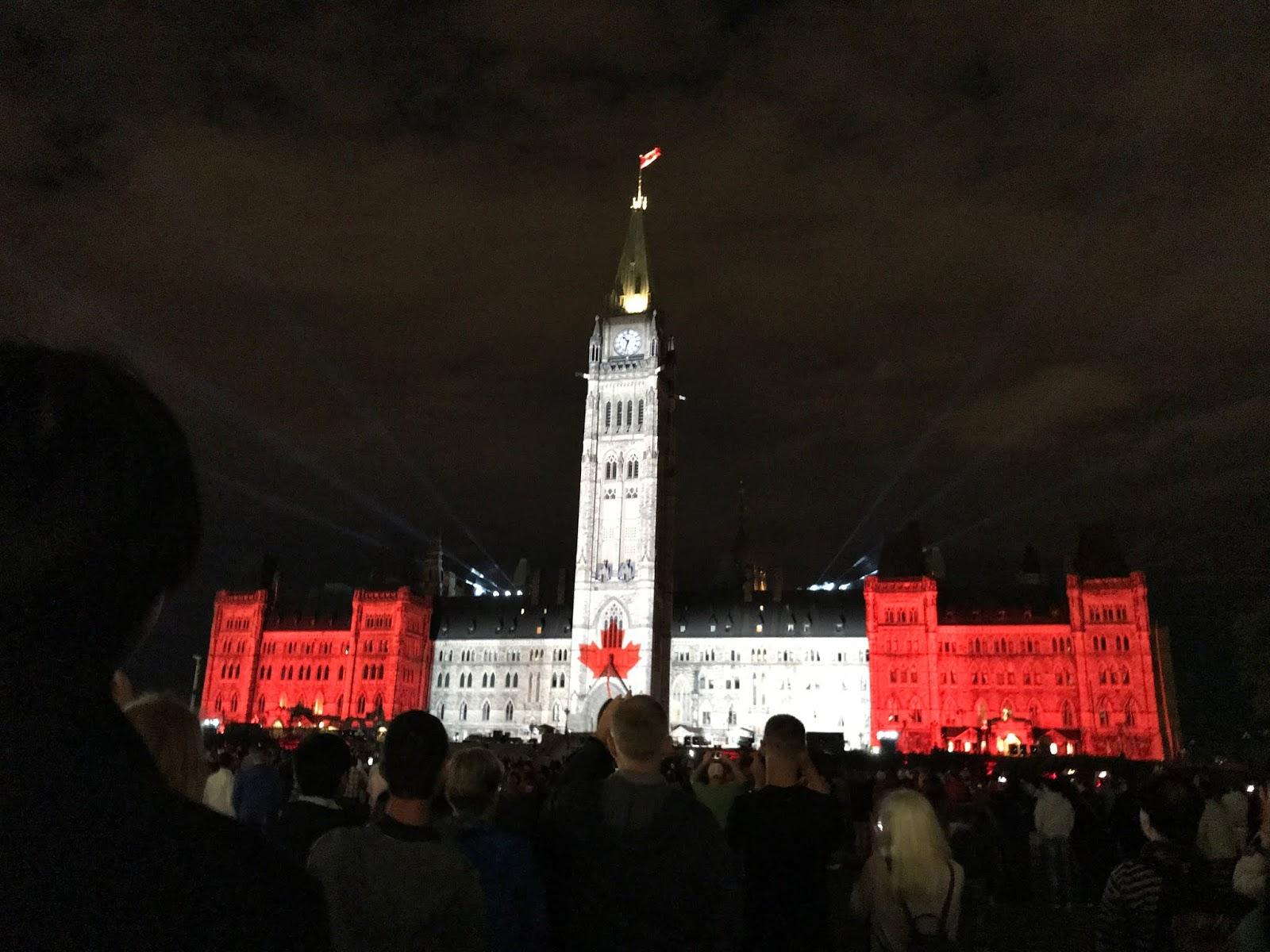 canada day light show parliament hill, ottawa lights, ottawa at night