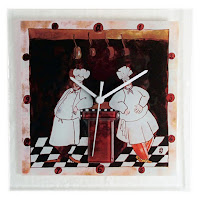 Two Chefs Square Glass Kitchen Wall Clock